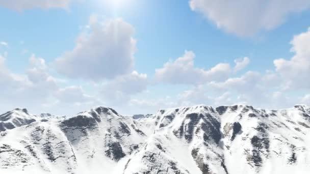 Panorama sněhu krytá hora slunečný den