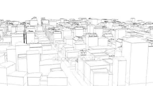 Flying above the dirty sketched city on white Able to loop seamless