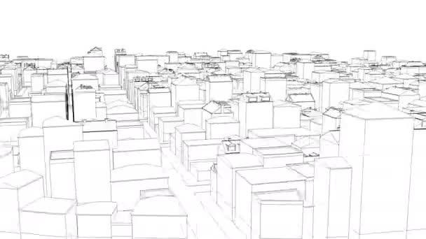 Létání nad špinavou načrtnuté městem na bílém Able bezešvé smyčka