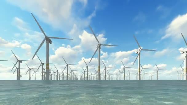 Windgenerator auf klarem Meer