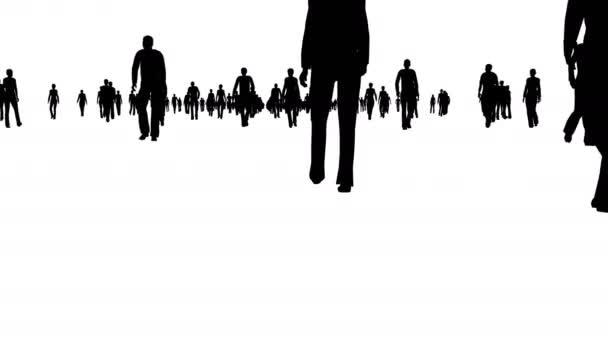 Sziluettjét tömeg séta a fehér
