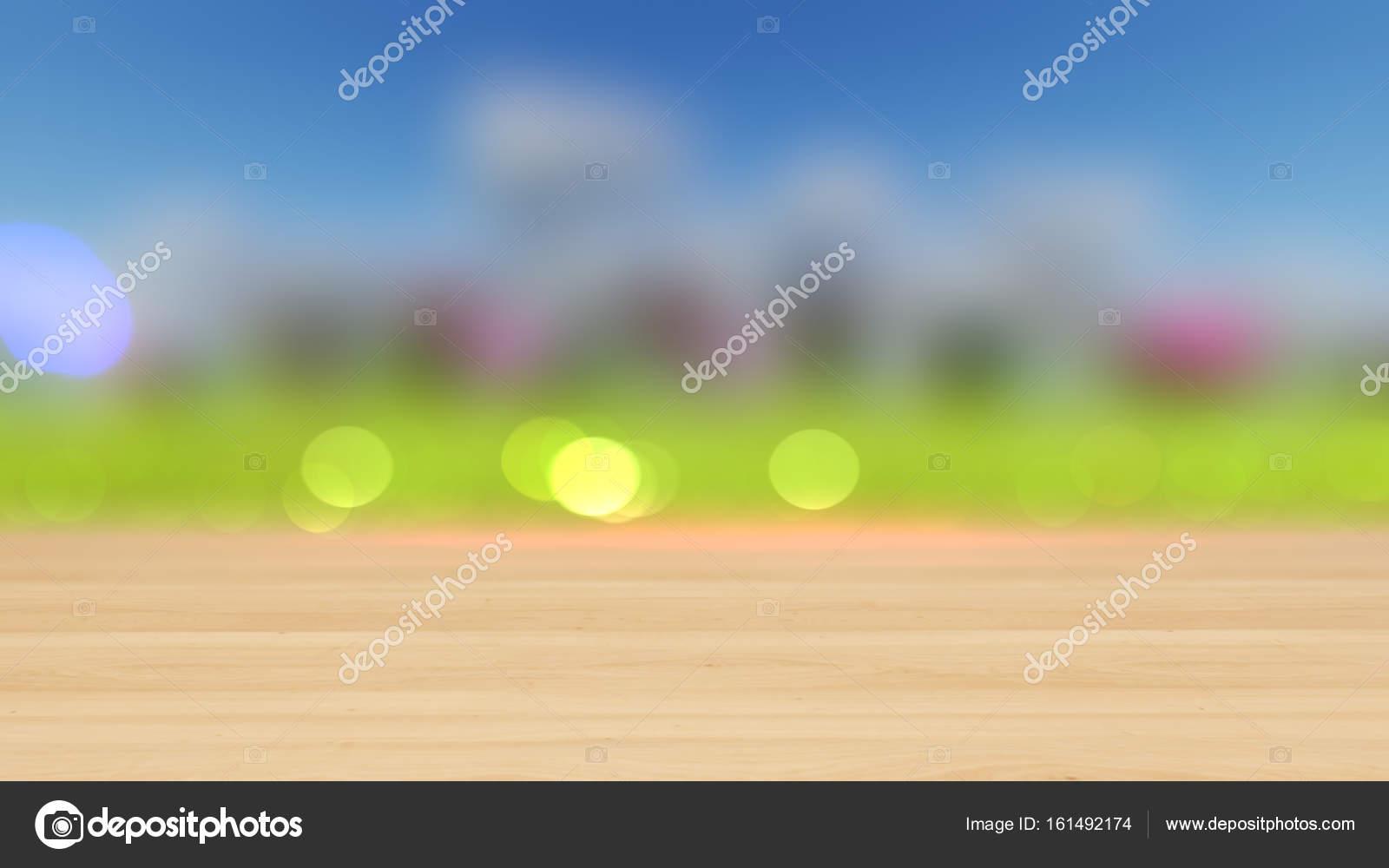 Ahşap Masa üstü Renkli Bokeh Arka Plan 3d Render üzerinde Stok