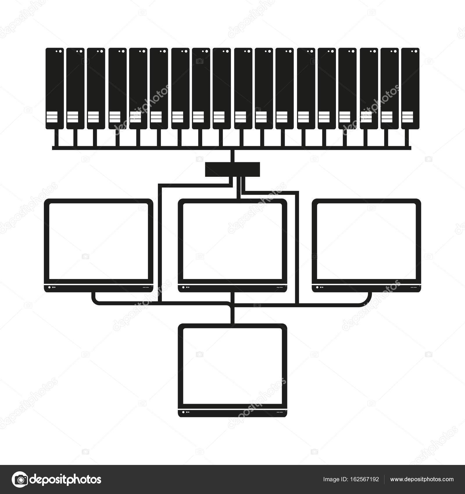 Big-Data Computer Netzwerksymbol Vector schwarz auf weißem ...