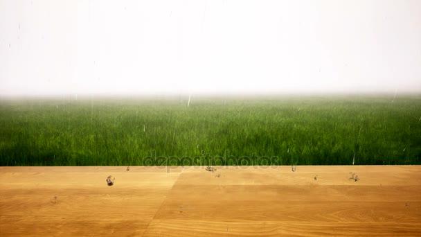 Regen trifft Holztisch und Gras