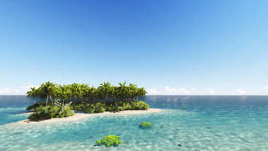Tropical island with a clear sky 3D render