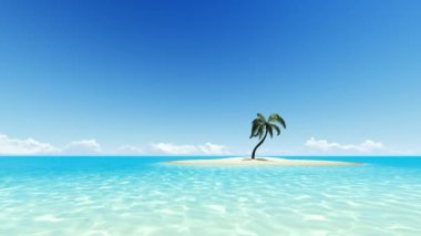 Tropical island with one palm tree and clear sky