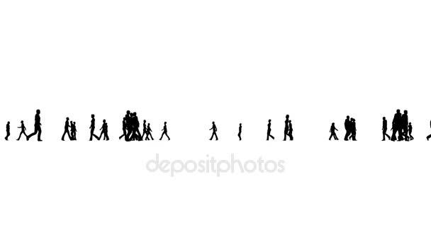Silueta lidí v davu chůzi