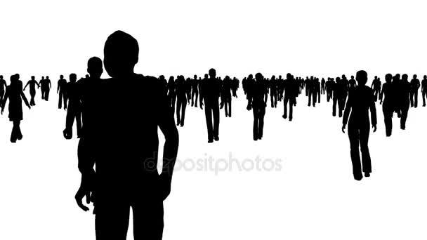 Sagome Persone Che Camminano.Sagome Nere Di Persone Che Camminano Su Bianco