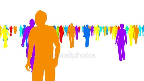 Siluette di colore folla di persone si muove su bianco