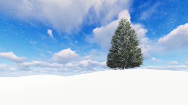 Krásná zimní krajina se stromem sníh