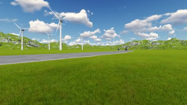 Silnice s autem nákladní automobily směrů a větrná turbína