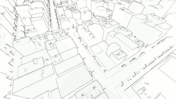 létání v načrtnuté městě na bílém pozadí