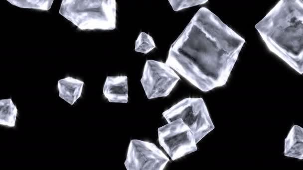Eiswürfel fallen auf schwarz