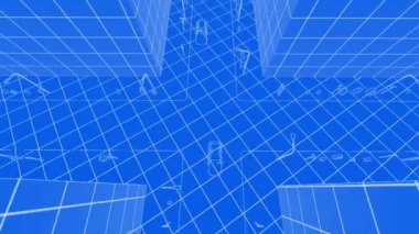 Flying over the growing city beautiful 3d blueprint of contemporary abstract blueprint of contemporary buildings and traffic cars malvernweather Gallery