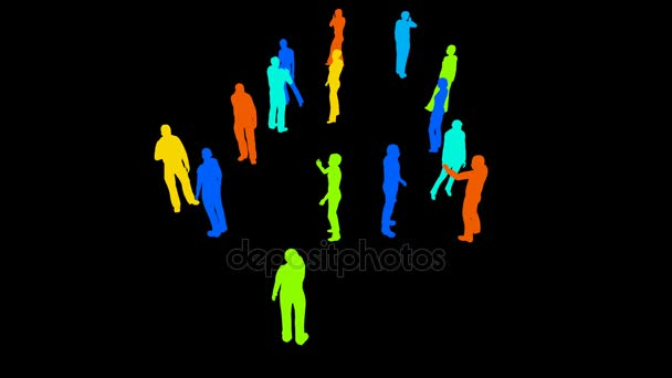Silhouettes of people on a black
