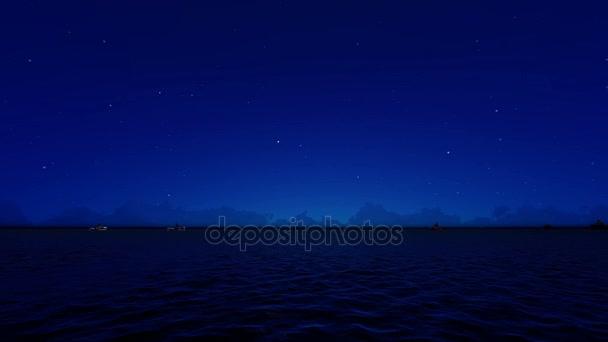 V noci nákladní lodě plující z otevřeného moře