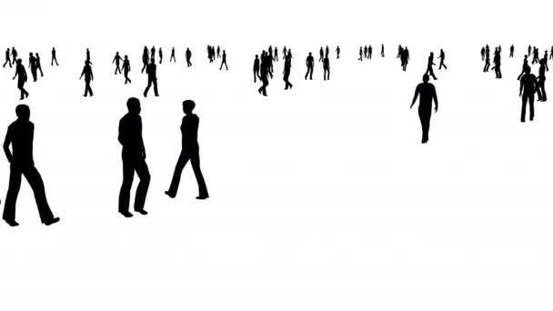 Dav lidí se pohybuje na bílém