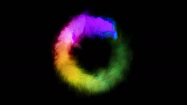 Rainbow színes füst áramló kör.