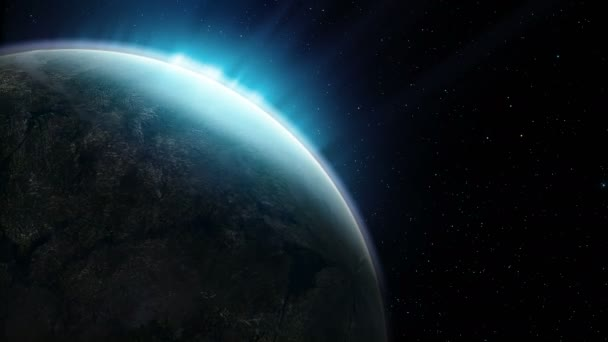 Beautiful planet rotates on the background of night sky a