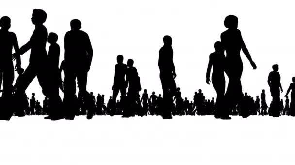 Folla di gente della siluetta si muove su bianco