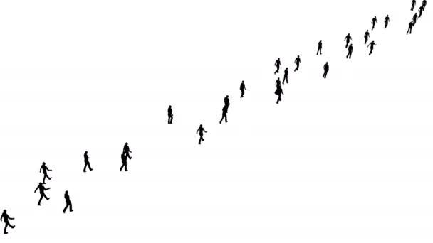 Siluety lidé jdou jedním směrem