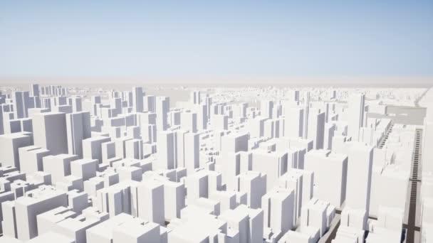 Fotoaparát letu prostřednictvím 3d město