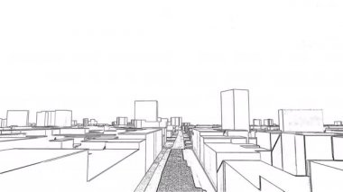 Flight over 3D drawing of city