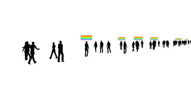 Plocha se siluetami lgbt lidí. Ikona ženské sexuální orientace. Lgbtq transgender symbol design background. Rodinný koncept.