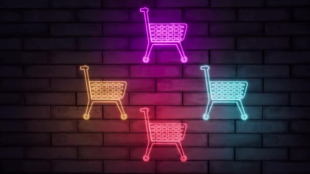 Modern neon lights shopping basket, great design for any purposes. Online store, shopping cart icon. Sign neon.