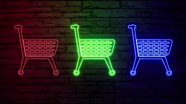 Colorful neon color shop trolley on light background. Shop store icon. Linear graphic. Thin line illustration. Flat design. Orange abstract background. Graphic element. Trolley icon.