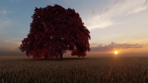 Zöld egy fa, gyönyörű stílusban, kék háttérrel. Környezeti katasztrófa. Természet katasztrófa. Fű háttér. Gyönyörű táj, fű. Zöld mező háttér. Égszínkék.