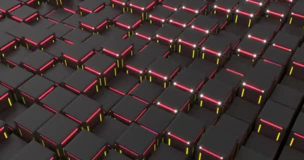 Fekete fekete dobozok sötét háttérrel. Luxus háttér. Vörös sárga neon. Képes a hurok zökkenőmentes