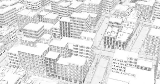 3D-Drahtgitter. Stadtarchitektur - Illustration. Stadtansichtsskizze, Skizze. geometrisches Konzept moderner Technologie. Moderne Bauweise. abstrakte digitale Illustration.