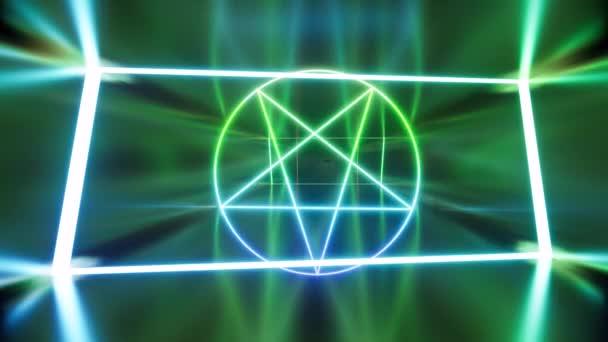 A Sátán neon pentagramma egy sötét hosszú folyosón.