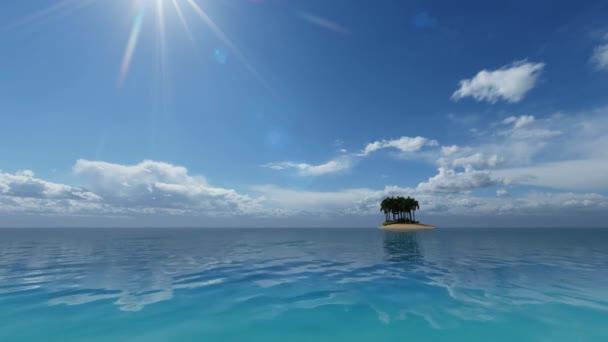 Zelený tropický ostrov. Oceán. Koncept léto, pláž, moře, relaxovat. Cestovní koncept.