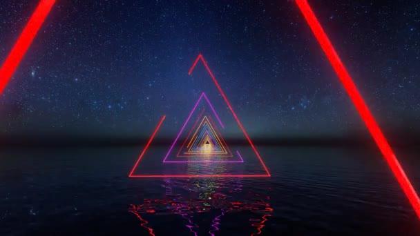 Absztrakt transzparens neonfényekkel a csillagokon. Neon fáklya. 80-as évekbeli nyári buli. szórólap jövő