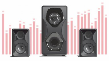 Music speakers with subwoofer. Vector black and gray, very loud. Pink equalizer on background