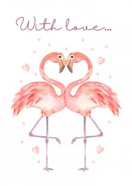 Pink flamingos in love and hearts. Watercolor card, invitation, greeting card, template for wedding design stock vector