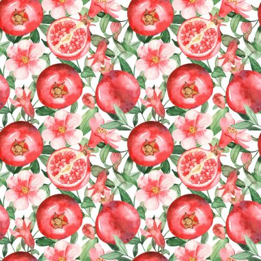 Pomegranates, flowers, buds and pomegranate leaves on a white background. Watercolor seamless pattern