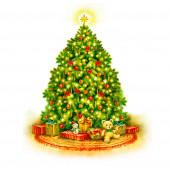 Vánoční strom ručně malovat akvarel ilustrace