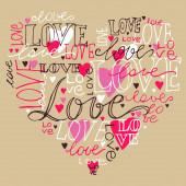 Herz Liebe handgeschriebene Schrift, romantischer Liebesvektor illustr