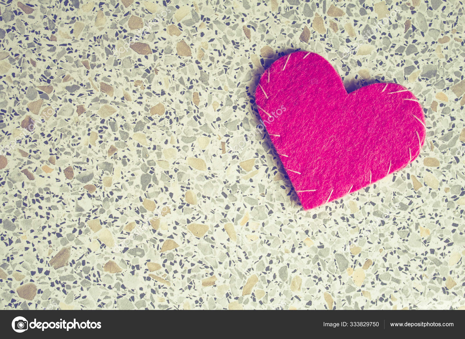 Red Felt Heart Stone Marble Background Template Valentine Day Romantic Stock Photo C Shafran13 333829750