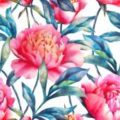 Aquarell Handfarbe rosa Pfingstrosen und Blätter, nahtloses Muster.