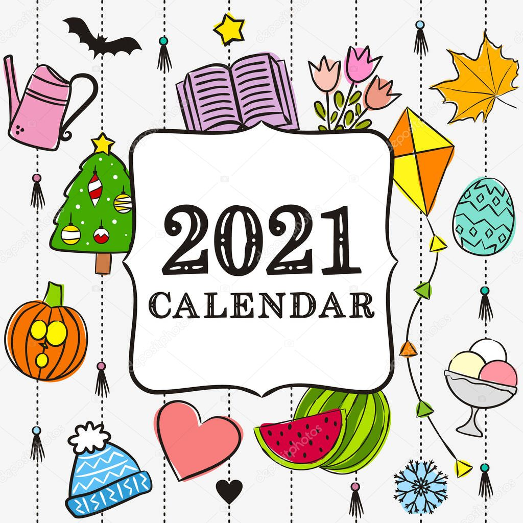 ✓ Thematic template for a calendar for 2021. Cover for the