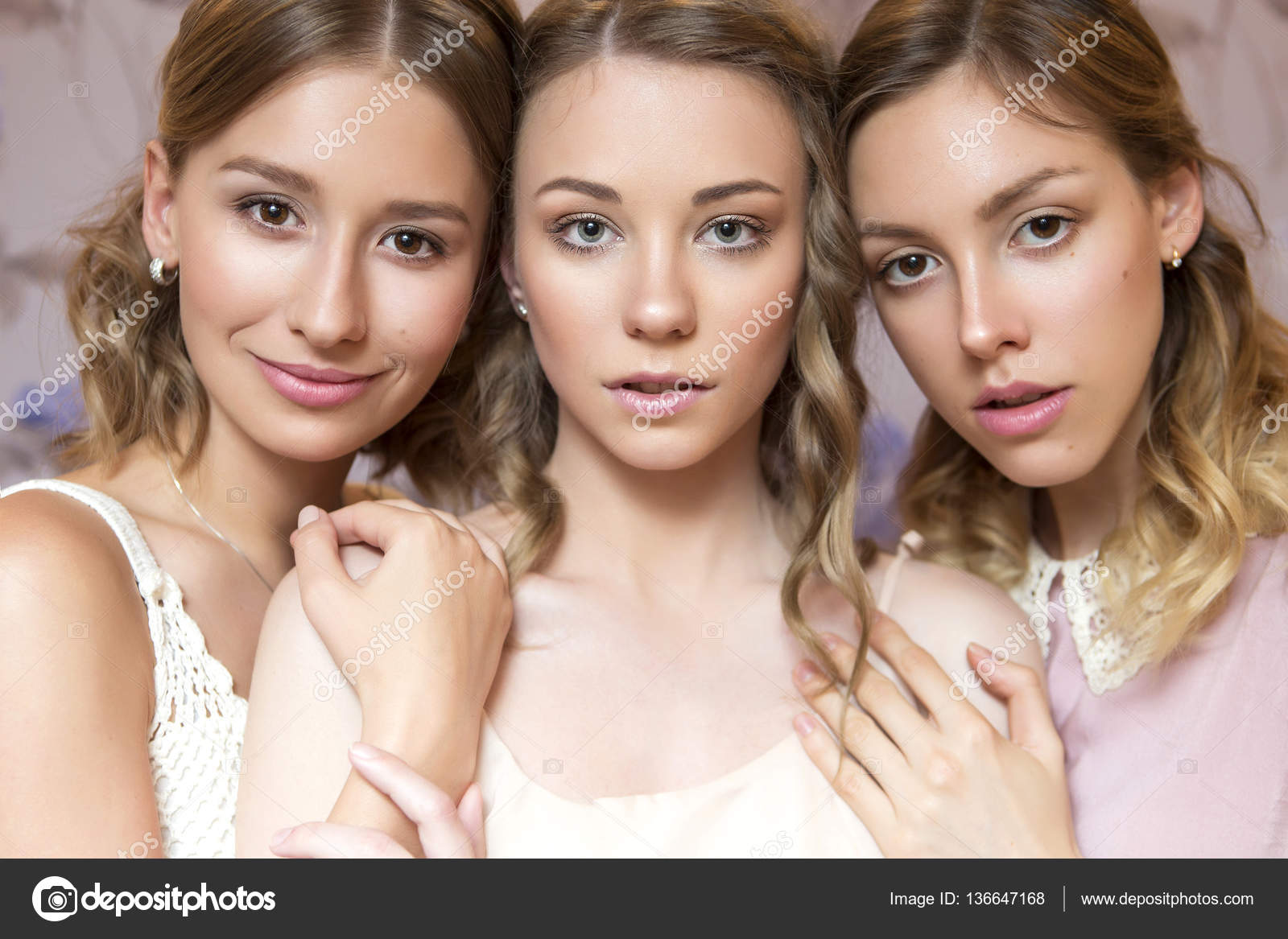 Look Portrait Young Three Beautiful Women