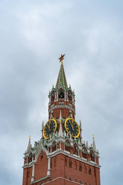 Spasskaya tower in Moscow on Red Square in cloudy weather