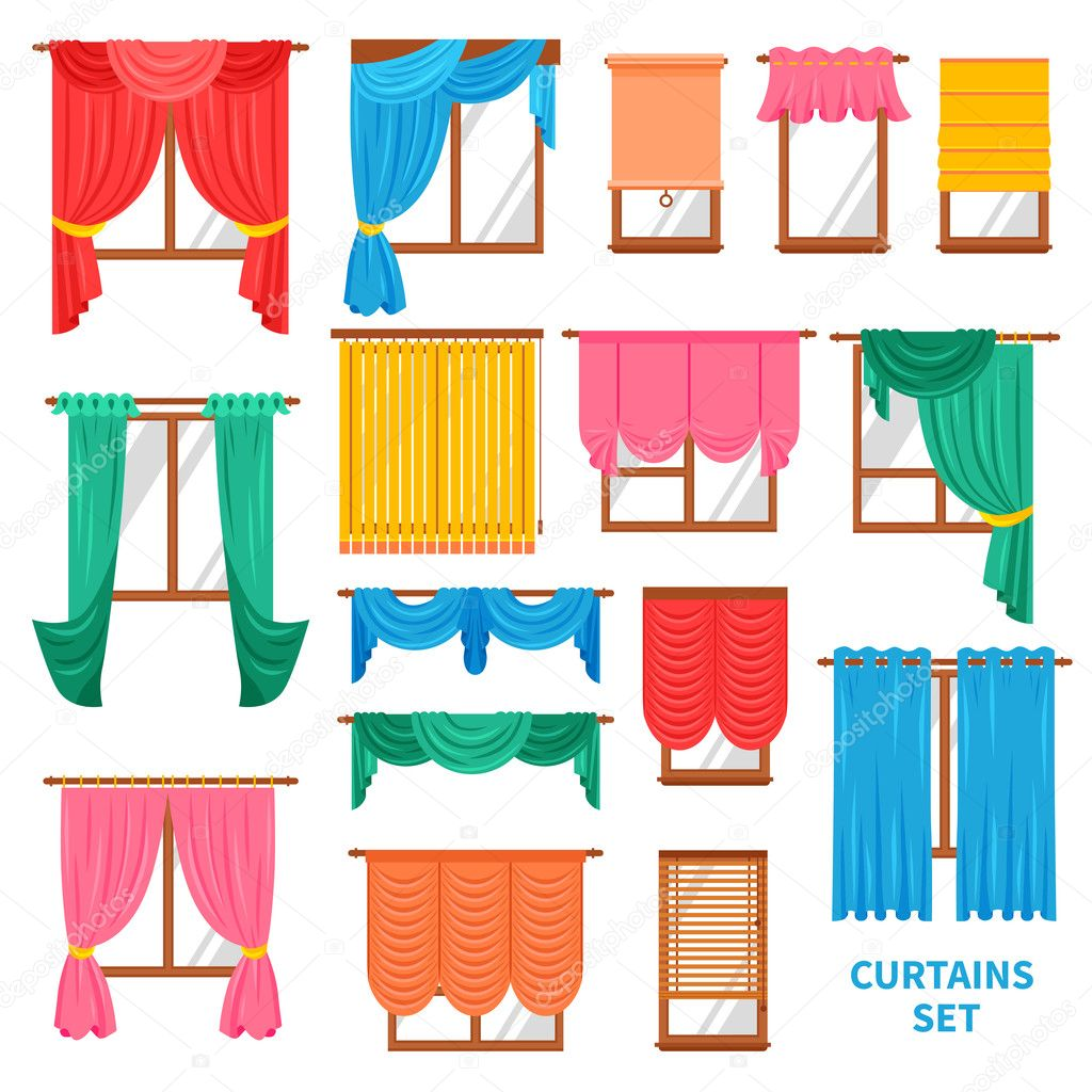 Window Curtains And Blinds Set — Stock Vector © macrovector #124939604 for Window With Curtains Illustration  21ane