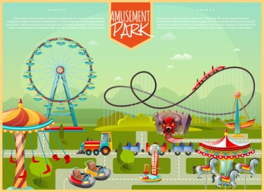 Amusement Park Vector Illustration