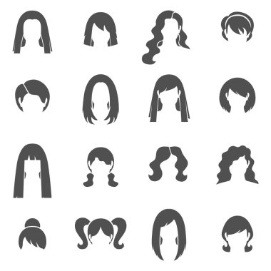 Woman Hairstyle Black White Icons Set