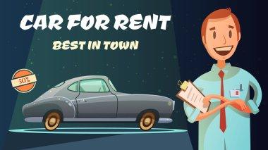 Best Rental Car Retro Cartoon Poster